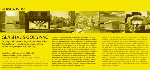 Berlin-NewYork Dialogues_young architects at the GLASHAUS Invite
